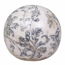 Boule Décorative Sphère Objet Déco à Poser en Céramique Blanche Motif Baroque Ø 12cm