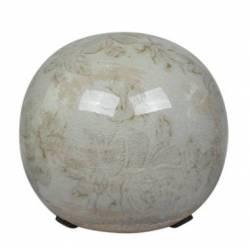 Boule Décorative Sphère Objet Déco à Poser en Céramique Vert Antique Motif Baroque Ø 10cm