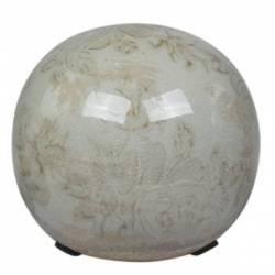 Boule Décorative Sphère Objet Déco à Poser en Céramique Vert Antique Motif Baroque Ø 12cm
