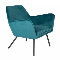 Fauteuil Bon Lounge Assise Woody Design Art Déco en Velours Bleu Canard 76x78x80cm