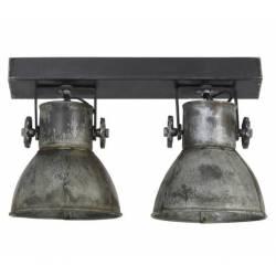 Luminaire Tendance ELAY Applique ou Plafonnier industriel Rampe 2 Spots en Bois et Métal Patiné Argent Vintage 18x24x42cm