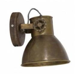 Luminaire Tendance ELAY Applique ou Plafonnier industriel Rampe 1 Spot en Bois et Métal Patiné Bronze 18x19x20cm