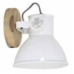 Luminaire Tendance ELAY Applique ou Plafonnier industriel Rampe 1 Spot en Bois et Métal Patiné Blanc 18x19x20cm