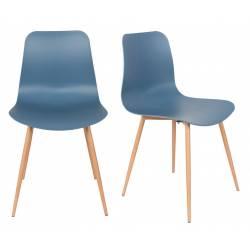 Lot de 2 Chaises Design Léon Assises Woody de Table en Acier et Plastique Bleu 44,5x49x80cm