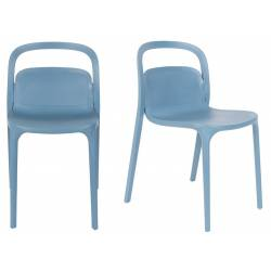 Lot de 2 Chaises Design Rex Assises Woody de Table en Plastique Bleu 46x55,5x80,5cm