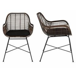Lot de 2 Fauteuils Cantik Chaises de Salon Dutchbone Assise Design en Rotin 52x59x78,5cm