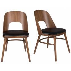 Lot de 2 Chaises Talika Dutchbone Assise Art Déco Vintage Siège de Table en Bois et Cuir 45x59x81,5cm