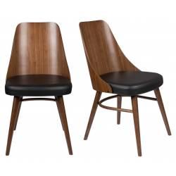 Lot de 2 Chaises Chaya Dutchbone Assise Art Déco Vintage Siège de Table en Bois et Cuir 47,5x61x87cm