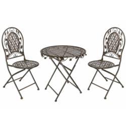 Salon de Jardin Roza Pliable Salon de Thé 2 Places Personnes Table Bistrot et 2 Chaises Métal Marron