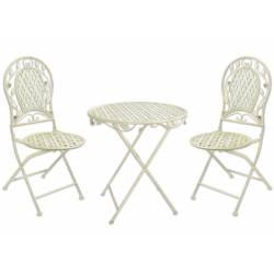 Salon de Jardin Roza Pliable Salon de Thé 2 Places Personnes Table Bistrot et 2 Chaises Métal Blanc