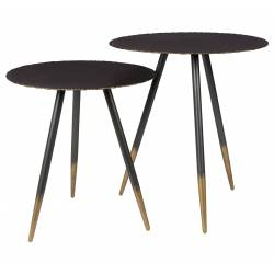 Set de 2 Tables Basses Rondes Stalwart Guéridons en Acier Dutchbone