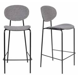 Lot de 2 Chaises de Comptoir Donny Assises Woody Design Sièges de Bar en Acier et Tissu 39x49x96cm