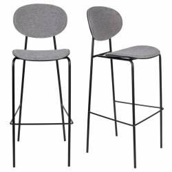 Lot de 2 Chaises de Bar Donny Assises Woody Design Sièges de Comptoir en Acier et Tissu 39x49x107cm