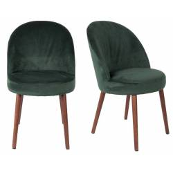 Lot de 2 Chaises Velours Barbara Dutchbone Vintage Tendance Sièges de Table Vert Empire 51x59x85,5cm