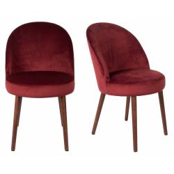 Lot de 2 Chaises Velours Barbara Dutchbone Vintage Tendance Sièges de Table Rouge Cerise 51x59x85,5cm