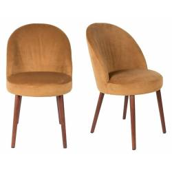 Lot de 2 Chaises Velours Barbara Dutchbone Vintage Tendance Sièges de Table Camel 51x59x85,5cm