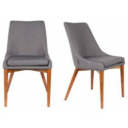Lot de 2 Chaises de Salon Juju Dutchbone Sièges de Table Séjour Chic et Rétro en Bois et Tissu Gris 49x57,7x89cm