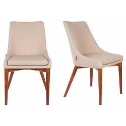 Lot de 2 Chaises de Salon Juju Dutchbone Sièges de Table Séjour Chic et Rétro en Bois et Tissu Beige 49x57,7x89cm