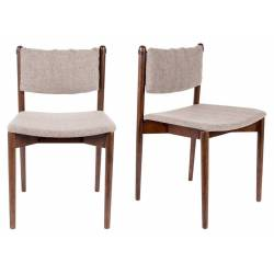 Lot de 2 Chaises Velours Torrance Dutchbone Vintage Tendance Sièges de Table Beige 46x52,5x78,5cm