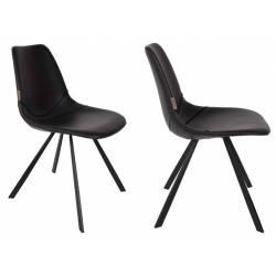 Lot de 2 Chaises Design Franky Dutchbone Tendance Sièges de Table Scandinave Cuir Noir 46x56x83cm