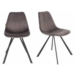 Lot de 2 Chaises Velours Franky Dutchbone Vintage Tendance Sièges de Table Gris 46x56x83cm
