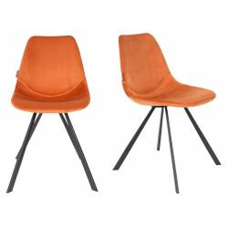 Lot de 2 Chaises Velours Franky Dutchbone Vintage Tendance Sièges de Table Orange Brûlé 46x56x83cm