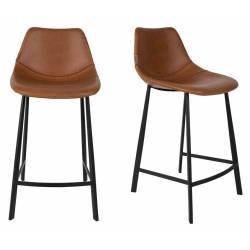 Lot de 2 Chaises de Bar Cuir Franky Dutchbone Vintage Tendance Sièges Haut Marron 50x54x106cm