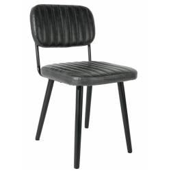 Chaise Jake Worn Signée Woody Siège de Table Vintage en Simili Cuir Noir 46x58x81cm