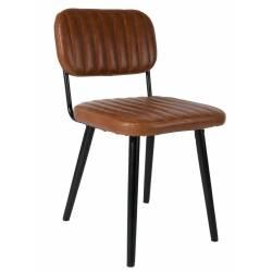 Chaise Jake Worn Signée Woody Siège de Table Vintage en Simili Cuir Marron 46x58x81cm