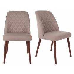 Lot de 2 Chaises Design Conway Woody Sièges de Table Séjour Chic et Tendance en Tissu Beige 48x56x85cm