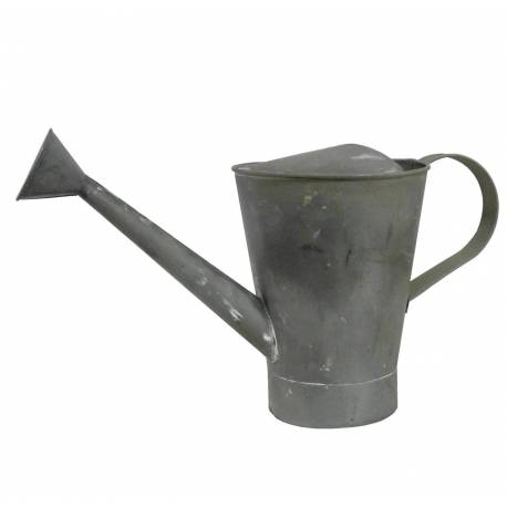 Arrosoir Etanche ou Broc Décoratif Façon Zinc en Fer Patiné Gris 16,5x22,5x40cm
