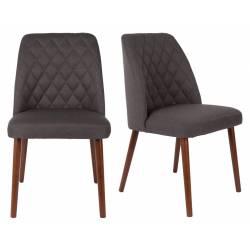 Lot de 2 Chaises Design Conway Woody Sièges de Table Séjour Chic et Tendance en Tissu Gris 48x56x85cm