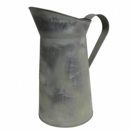 Broc de Jardin Pichet Arrosoir Façon Zinc Bac à Fleurs Vase à Fleur en Fer Patiné Gris 20x30x39cm