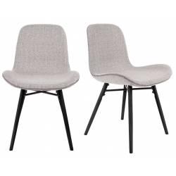 Lot de 2 Chaises Design Lester Sièges Woody de Table Séjour Chic et Tendance en Tissu Gris 50x55x80,5m