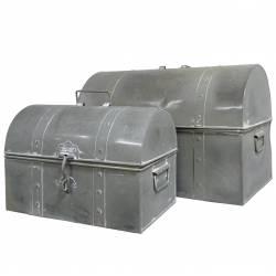 Coffre ou Malle Bombée de Rangement Caisse à Jouets à Outils Bar en Fer Style Zinc 31x39x52cm