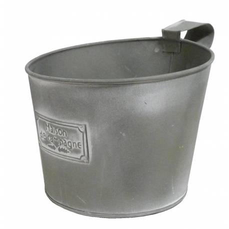 Pot Jardinière en fer gris 18cm