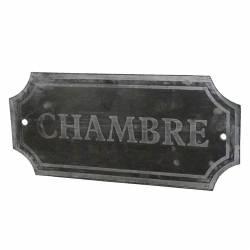 """Plaque Décorative Murale à Poser Ecriteau avec Inscription """"Chambre"""" en Fer Patiné Gris 0,11x7x15,5cm"""