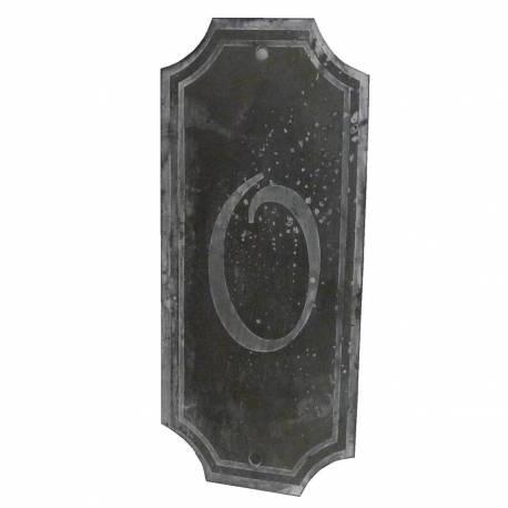 """Plaque Numéro Décorative Murale à Poser Ecriteau avec Inscription Numérotée """"0"""" en Fer Patiné Gris 0,1x7x15,5cm"""