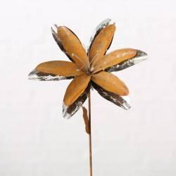 Fleur sur Tige à Piquer Tuteur Décoration Florale de Jardin en Métal Oxydé et Chromé 24x24x90cm
