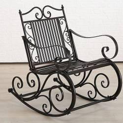 Rocking Chair Chaise à Volutes Fauteuil de Jardin a Bascule en Fer Noir 62x91x93cm