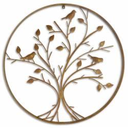 Applique Bougeoir Mural Style Arbre de Vie Candélabre Décoratif à Fixer à 7 Verrines en Fer Patiné Marron 12x113x114cm