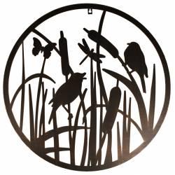 Applique Murale Fronton Style Arbre de Vie Motifs Papillons Oiseaux Roseaux Métal 1,5x60x60cm