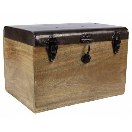malle style ancien coffre de rangement jouets bar range bouteilles en bois et m tal 28x28x42cm