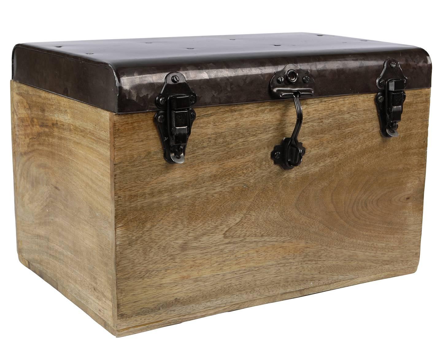 Malle Style Ancien Coffre De Rangement A Jouets Bar Range Bouteilles En Bois Et Metal 28x28x42cm L Heritier Du Temps