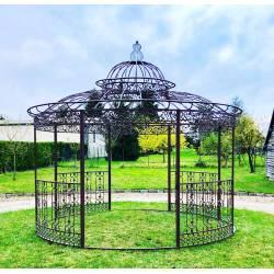Grande Tonnelle Kiosque de Jardin Pergola Abris Rond Kiosque en Fer Forgé et Fonte Marron 340x370x370cm