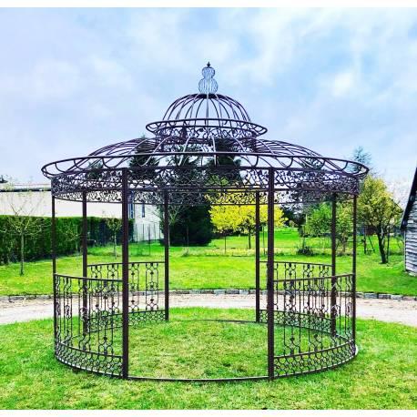 Grande Tonnelle Kiosque de Jardin Pergola Abris Rond en Fer Marron 340x370x370cm