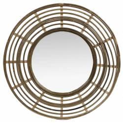 Miroir Tendance en Rotin Grande Glace Décorative Ronde Design 3x54,5x54,5cm