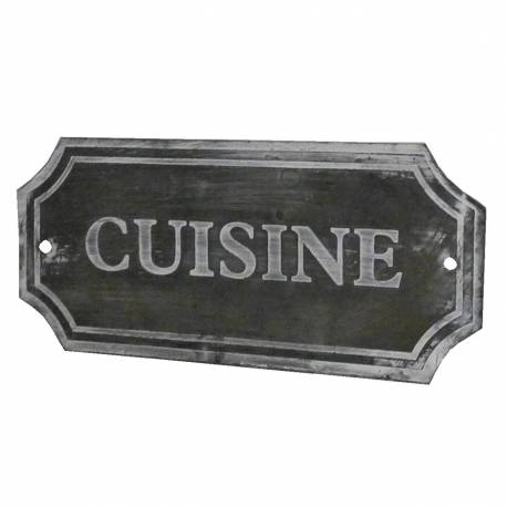 """Plaque Décorative Murale à Poser Ecriteau avec Inscription """"Cuisine"""" en Fer Patiné Gris 1x7x15,5cm"""