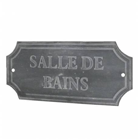 """Plaque Décorative Murale à Poser Ecriteau avec Inscription """"Salle de Bains"""" en Fer Patiné Gris 0,1x7x15,5cm"""