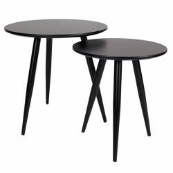 Lot de 2 Guéridons Daven Table Basse ou d'Appoint Design Noir 50x50x50cm